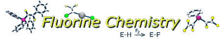 fluorine chemistry logo with some fluorine-containing compounds pictured