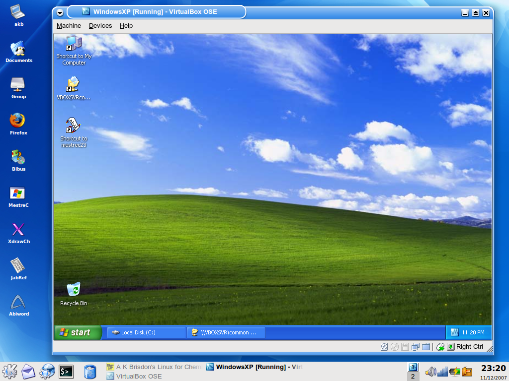 VirtualBox running XP on top of Linux